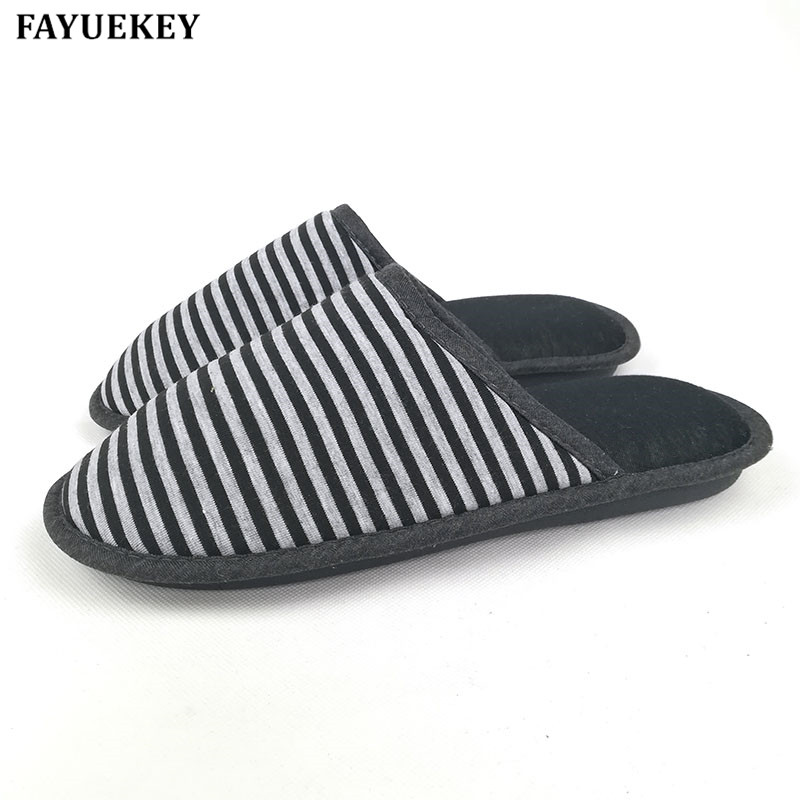 FAYUEKEY New Stripe Spring\Autumn Winter Home Cotton-padded Couples Slippers Indoor\Floor Warm Lovers Slippers Flat Shoes vanled 2017 new fashion spring summer autumn 5 colors home plush slippers women indoor floor flat shoes free shipping