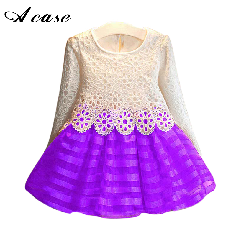 3 5 7 8 9 10 12 Years Toddler Girls Tutu Dress 2017 Autumn Kids Baby Hook Flower Lace Long Sleeve Princess Dresses Girls Clothes