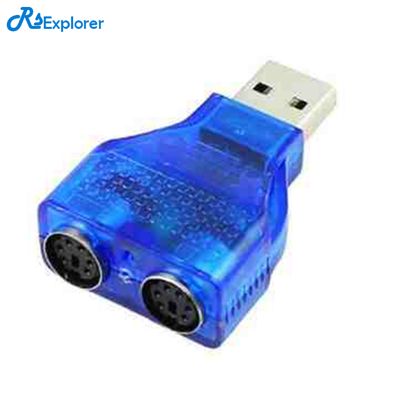 RSExplorer USB TO PS2 BULE USB Male to PS2 Female Cable Adapter Converter Use For Keyboard Mouse цены онлайн