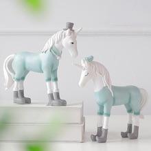Europe Style Cute Unicorn Figurines Creativity Resin Artware Animals Model Office Desk Decoration Home Decor Kids Birthday Toys