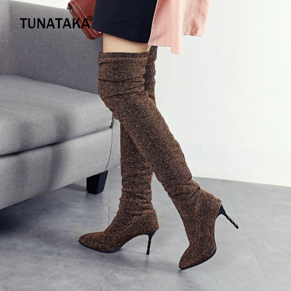 Fashion Over the Knee Women Shining Sexy Thin High Heel Thigh Boots Slip On Pointed Toe Autumn Winter Woman Shoes Plus Size 2018 2018 sexy boots over knee high heel autumn winter fashion pointed toe thin heels thigh high long thin leg boots women nysiani