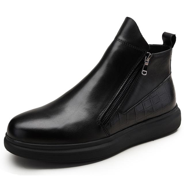 Nova Chegada da Alta Qualidade Da Moda Confortável Zip Bico fino Artesanal Projeto Ankle Boots de Couro Genuíno Para Homens