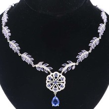 Luxury Big Heavy 20.0g New Stone Iolite White CZ Ladies Wedding Silver Necklace 18.5-19inch 48x36mm