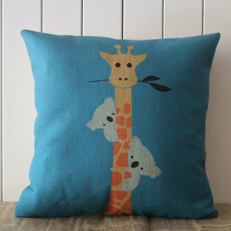 LINKWELL Pillow Case Burlap Cushion Cover 18x18 inch Blue Giraffe and Koala Funny Cute Pattern for Children Room Decoration