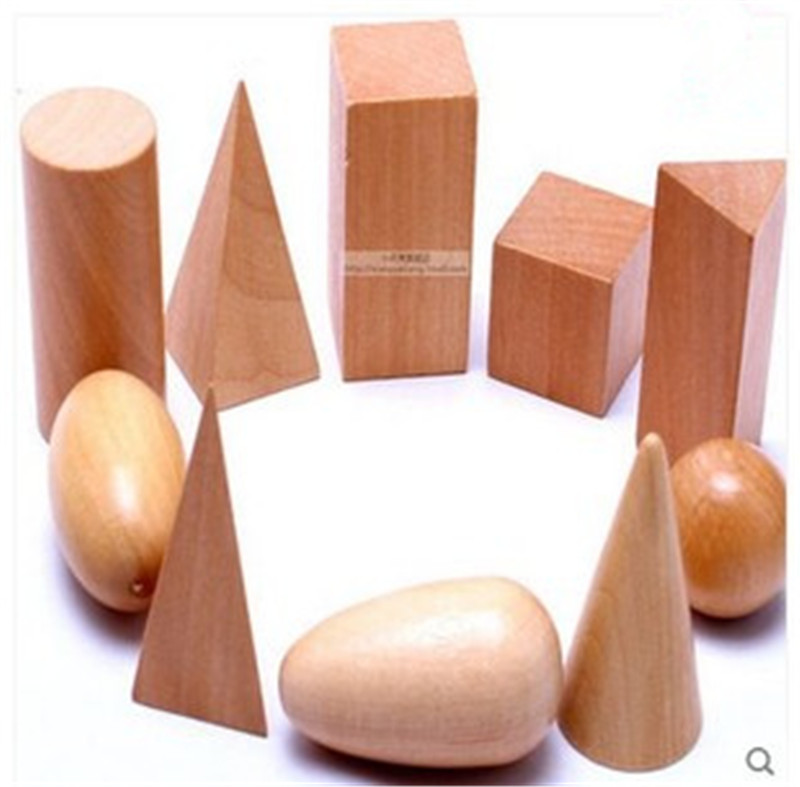 Wooden  Geometric Shapes Solids Geometry Blocks Set Learning & Education Cognitive Math Toys 10pcs/set Free Shipping