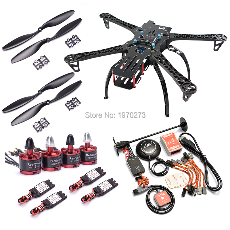FPV X500 500mm Quadcopter Frame Kit + 2212 Motor + 30A ESC / Naza M Lite Flight Controller Board W/ PMU LED M8N GPS