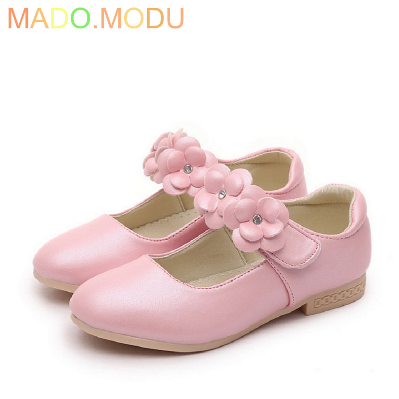 Girls Princess Shoes 2018 New Autumn Brand Flowers Baby Children Sneakers PU Leather Kids Party Shoe Soft Soles EU 26~36
