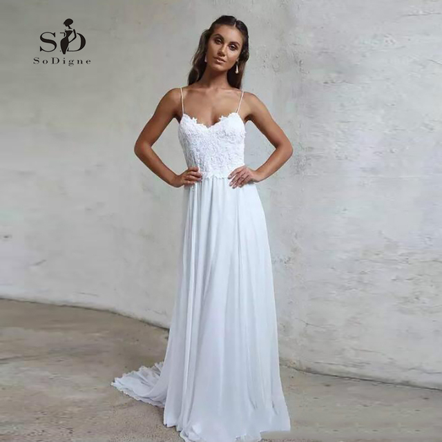 104dc4950a9d New-arrival Informal Bride dress 2018 Spaghetti Straps With Lace-appliques  Chiffon Simple Wedding Dress