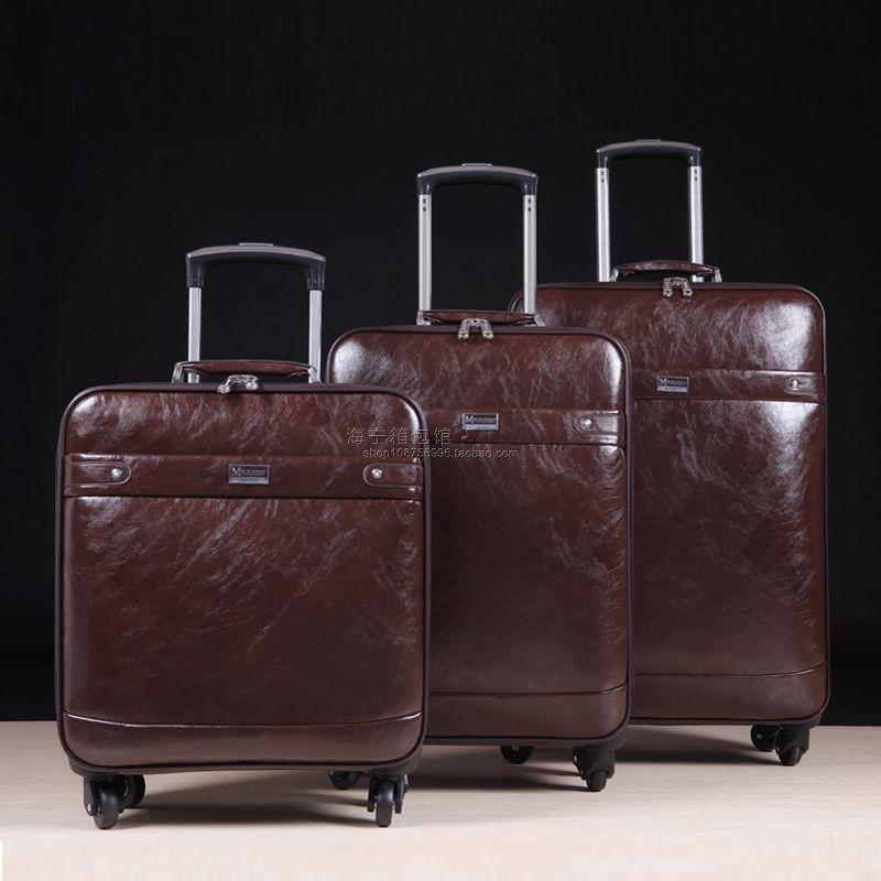 Пол натуральна шкіра універсальні колеса візки багаж дорожня сумка коров'ячої 16 комерційний багаж сумка 20,24, висока якість чорний мішки  t