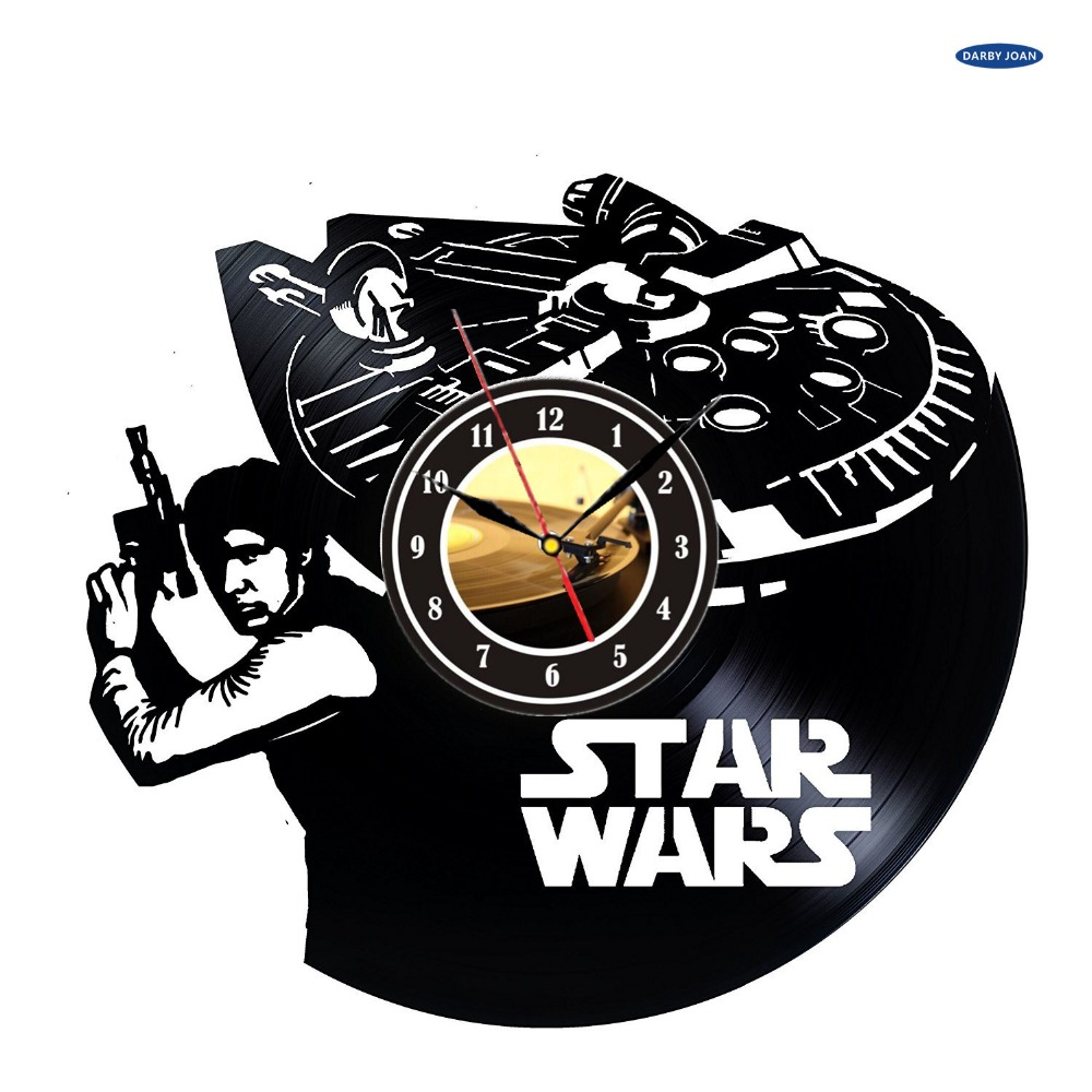 Vinilos Decorativos Star Wars 17 49 55 De Descuento Reloj De Pared De Vinilo Decorativo Star Wars Leia Diseño Negro Reloj De Pared De Vinilo Star Wars Tema Decoración De La
