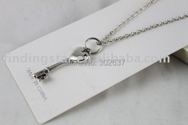 FREE SHIPOPING 3PCS Tibetan Silver Color heart key Pendant Necklace #20098