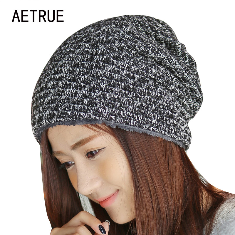 Winter Hat knitted Fur Beanies Warm Caps Skullies Winter Hats For Women Bonnet Ladies Brand Fashion Thicken Girl Beanie 2017 Cap