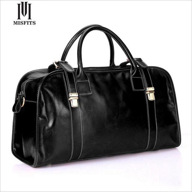 INADAPTADOS cuero genuino de los hombres bolsas de viaje de cuero de vaca capa superior hombre equipaje de viaje bolsa de lona de cuero negro hombre sólido WHB219