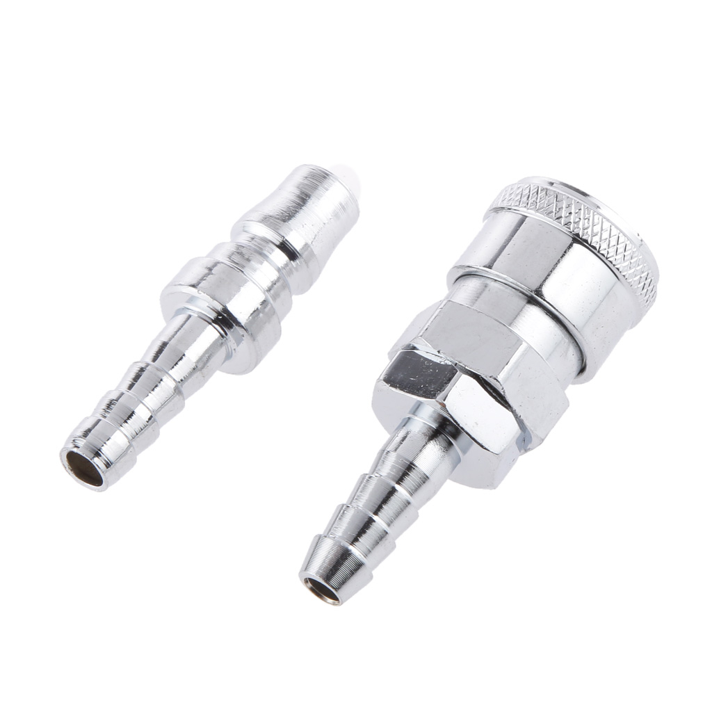 1 Pair Stainless Steel SH20+PH20 Air Line Quick Fittings Air Hose Connector Couplers For 1/4'' Hose Replacement Silver