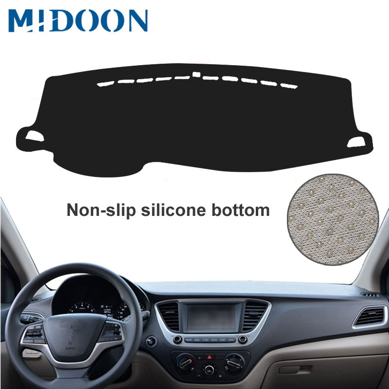 MIDOON Fit For Hyundai Solaris 2 Accent 2017 2018 Dashmat Dash Mat Dashboard Cover Pad Sun Shade Dash Board Cover Carpet