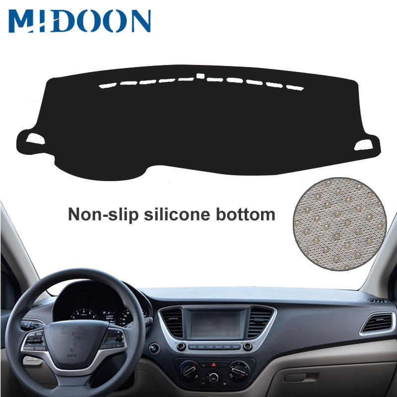 Midoon Cocok untuk Hyundai Solaris 2 Bisa 2017 2018 Dashmat Dash Mat Dashboard Cover Pad Sun Shade Dash Board Cover karpet