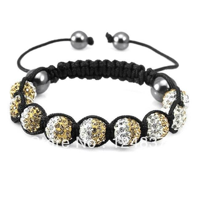 Celebrity Style Dazzling Crystal Ball Beads Bracelet Luxury Shamballa Bracelets Gold And White Bling