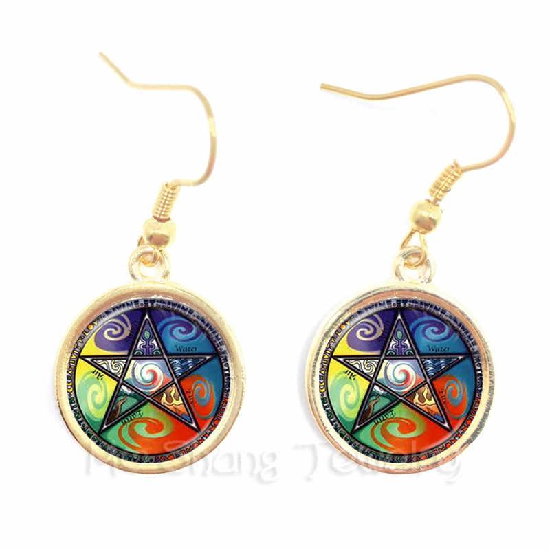 Sataniczny Pentagram gwiazda symbole oświadczenie posrebrzane kolczyki ręcznie robione dla kobiet dziewczyny moda biżuteria Pagan prezent