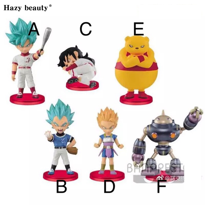 Hazy beauty 6Pcs/Set Dragon ball Z DBZ Super WCF 8 Vegeta Goku PVC Figure Juguetes Brinquedos Toys