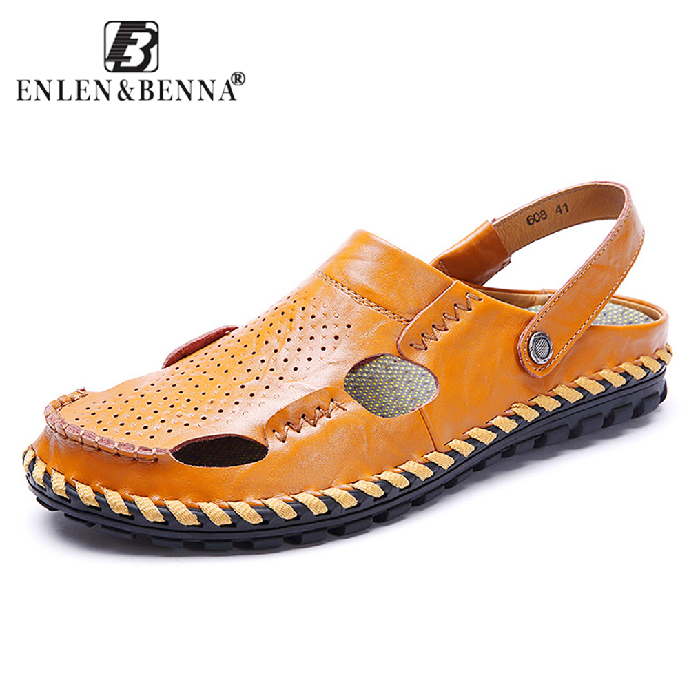 EnlenBenna Summer Breathable Outdoor Sneakers Split Leather Sandals Men Quality Causal Shoes Beach Sandals Non-slip Rubber Sole
