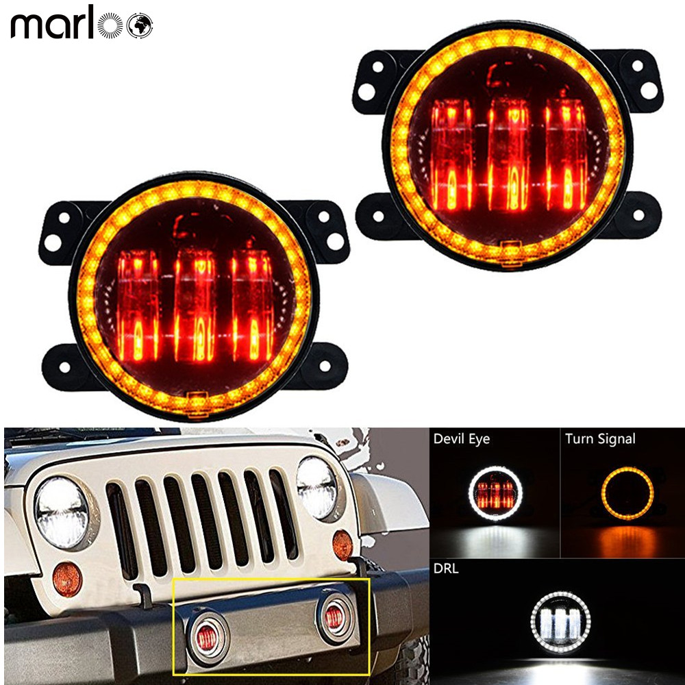 Marloo 4 Led Fog Lights White Amber Halo Ring For Jeep Wrangler JK Dodge Chrysler Cherokee Front Bumper Lights With H16 Adapter
