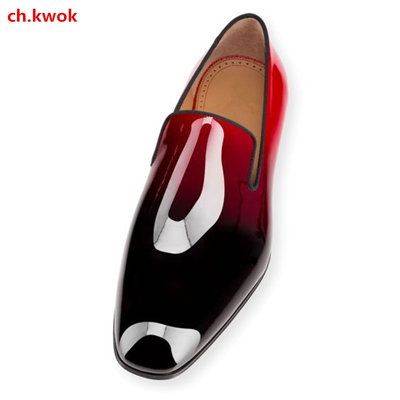 CH.KWOK Red Bottoms Dandelion Flats Black 2018 Suede Patent Leather Gradient Quality Chaussure Femme Mens Dress Loafers Shoes hot sales new fashion dandelion spikes mens loafers high quality suede black slip on sliver rivet flats shoes mens casual shoes