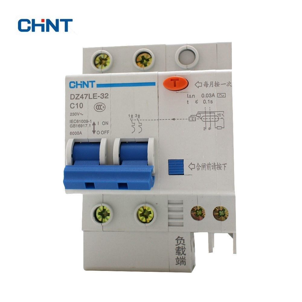 CHINT DZ47LE-32 2P C10 10A DIN Rail Overload Protection Residual Current Circuit Breaker chint dz47le 32 3p c25a 30ma earth leakage circuit breaker residual current operated circuit breaker