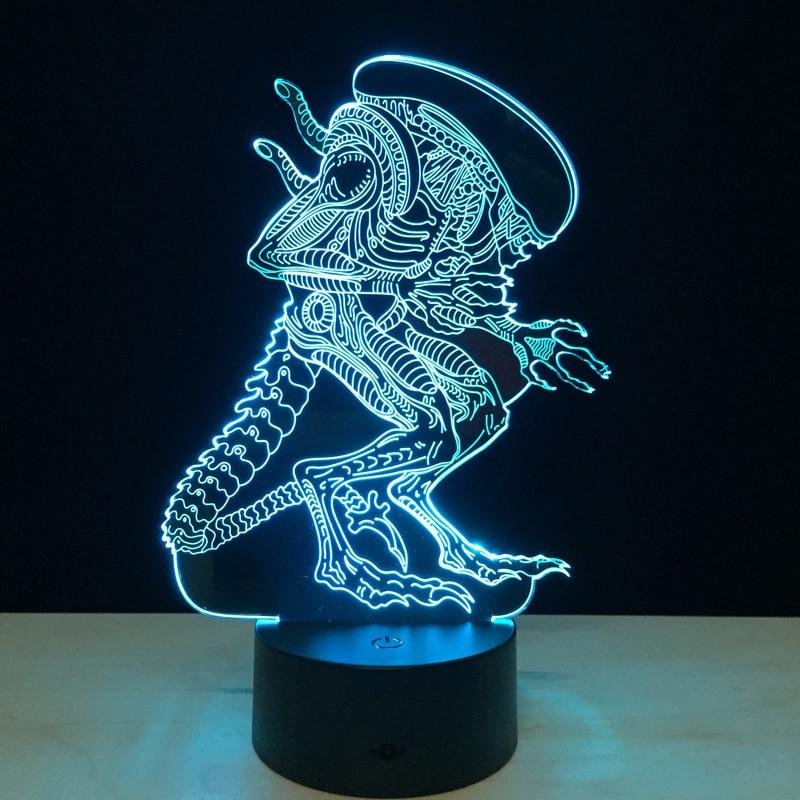 Alien 3D Led Night Light Rəngarəng Alien Queen Akril USB LED Masa - Gecə işığı - Fotoqrafiya 1