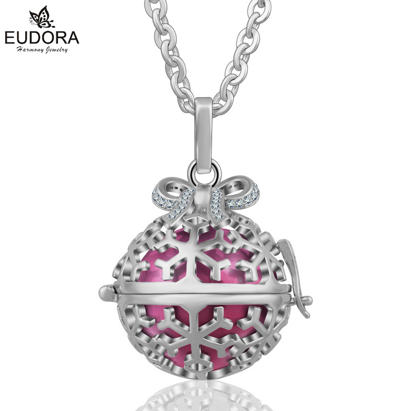 Eudora Harmony Ball Pendant Bow-Knot Angel Caller Floating Locket Pendants Pregnant Mexican Bola Necklace Baby Chime Jewelry