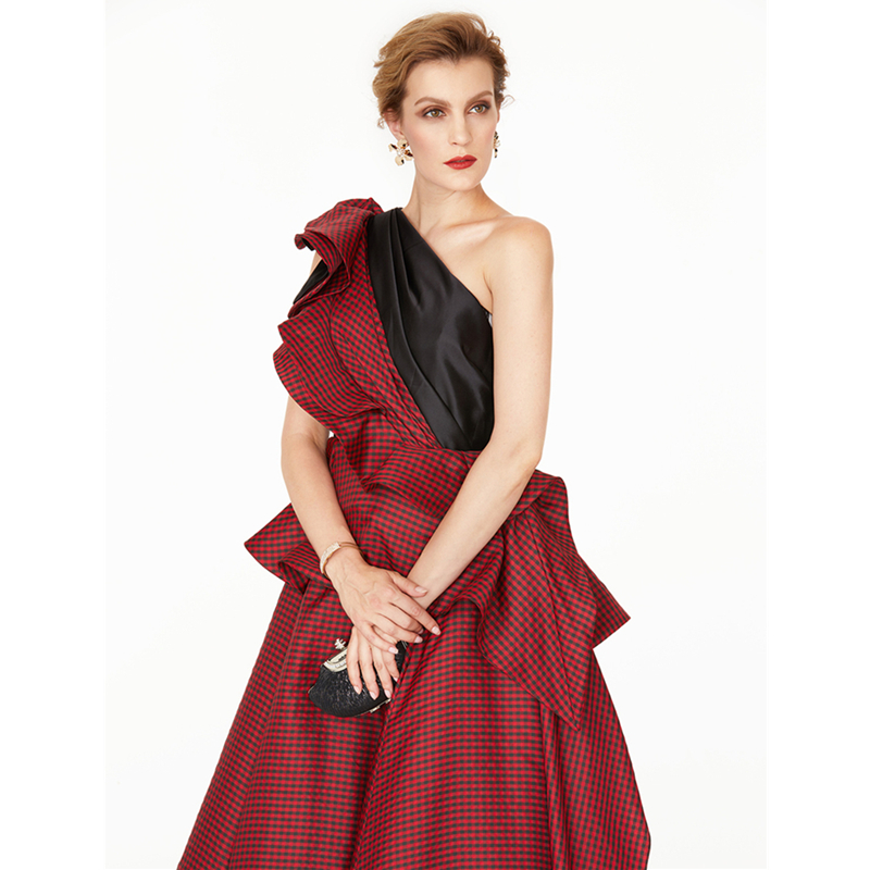TS Couture A Line Princess One Shoulder Court Train Satin Taffeta Formal  Evening Dress with Side Draping Pleats Color Block-in Evening Dresses from  Weddings ... 92d8249295d7