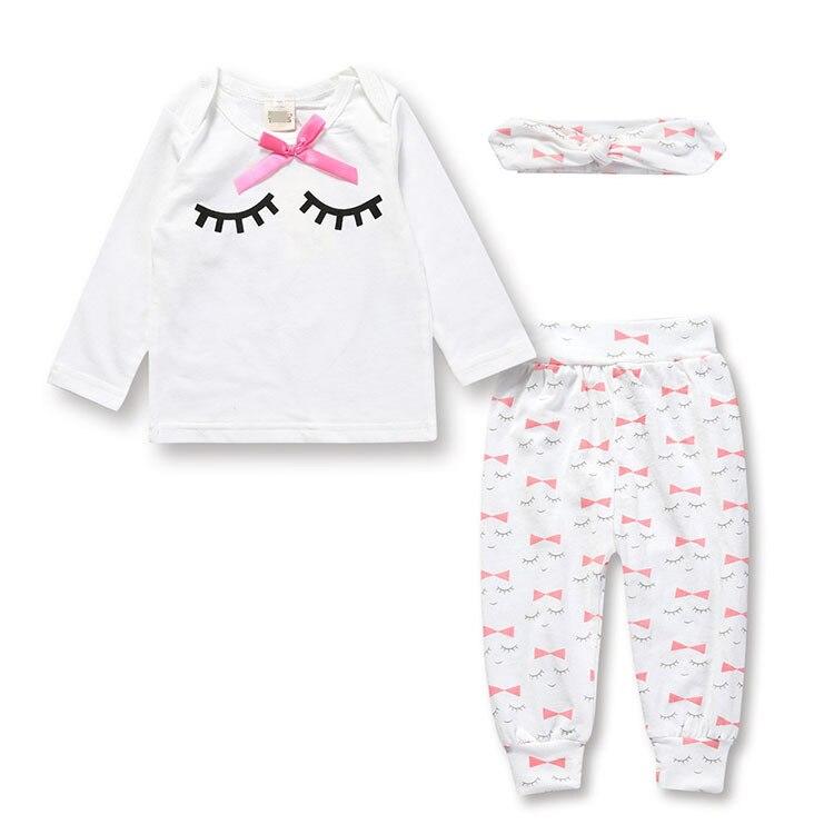 3Pcs/Set! Baby Girl Clothes Fashion Long Sleeve T Shirt+floral Leggings+headband Newborn Infant Suit Baby Girls Clothing Sets