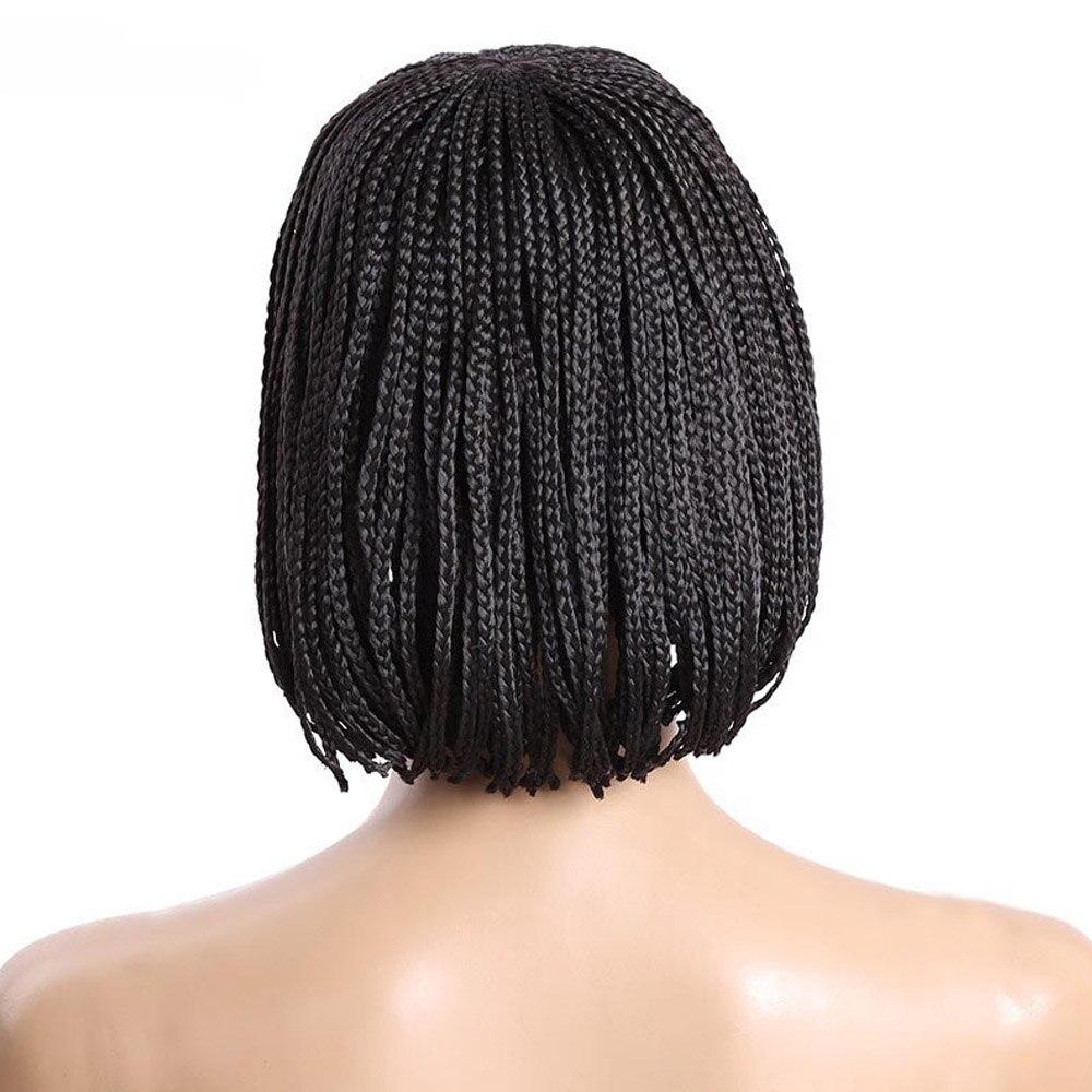Delice Для женщин черный короткий Боб Косплэй парики микро плетеный ящик косы парик высокое Температура fibre синтетический шиньоны ...