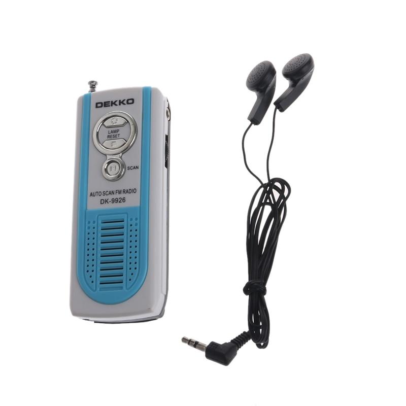 Tragbares Audio & Video Mini Tragbare Auto Scan Fm Radio Receiver Clip Mit Taschenlampe Kopfhörer Dk-9926-34 #/cc