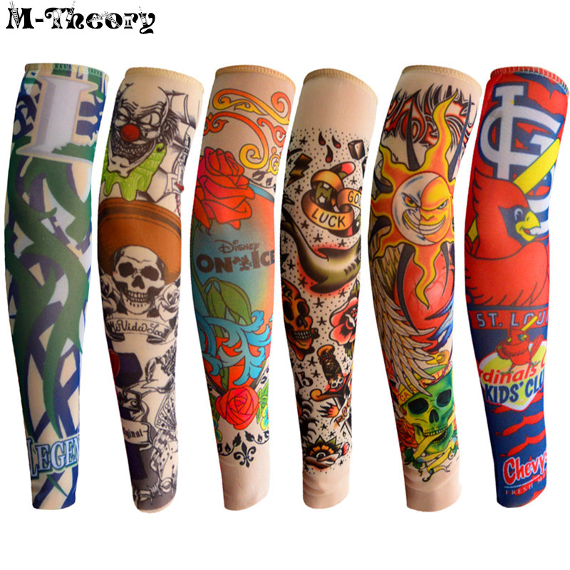 6 pcs Kid Size 3D Tattoo Sleeve Arm Nylon Stockings Leggings Elastic Rock Style Boys Girls Riding Hiking Wearings