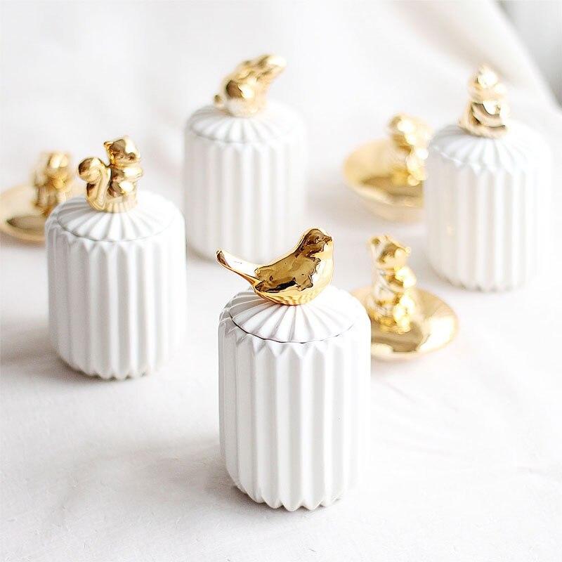 Nórdicos hisopo de algodón caja de almacenamiento organizador pequeño Animal de cerámica para palillo de dientes de almacenamiento con tapa de escritorio de caja de joyería