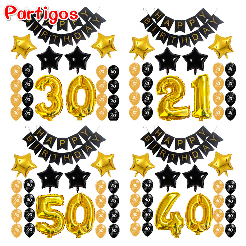 23 pçs/lote Adulto 21 30 40 50 Ano da Festa de Aniversário de Papel Preto 32 polegadas Ar o Número De Globos de Ouro da Forma da Estrela da bandeira Número Latex Decor