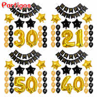 23pcs/lot Adult 21 30 40 50 Year Birthday Party Paper Black Banner 32inch Gold Number Air Globos Star Shape Number Latex Decor
