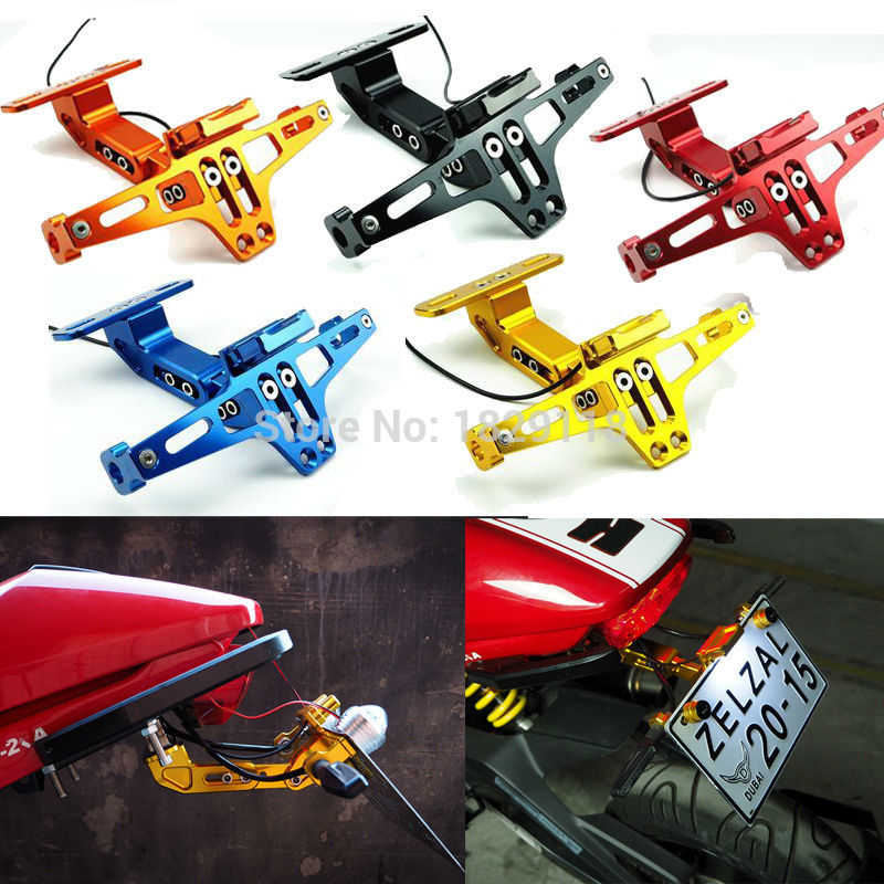 Universal Motorcycle Adjustable Aluminum License Number Plate Frame Holder Bracket with light For KTM Kawasaki Yamaha Honda universal motorcycle adjustable angle aluminum license number plate frame holder bracket for ktm duke 200 390 sx f exc f 85 sx