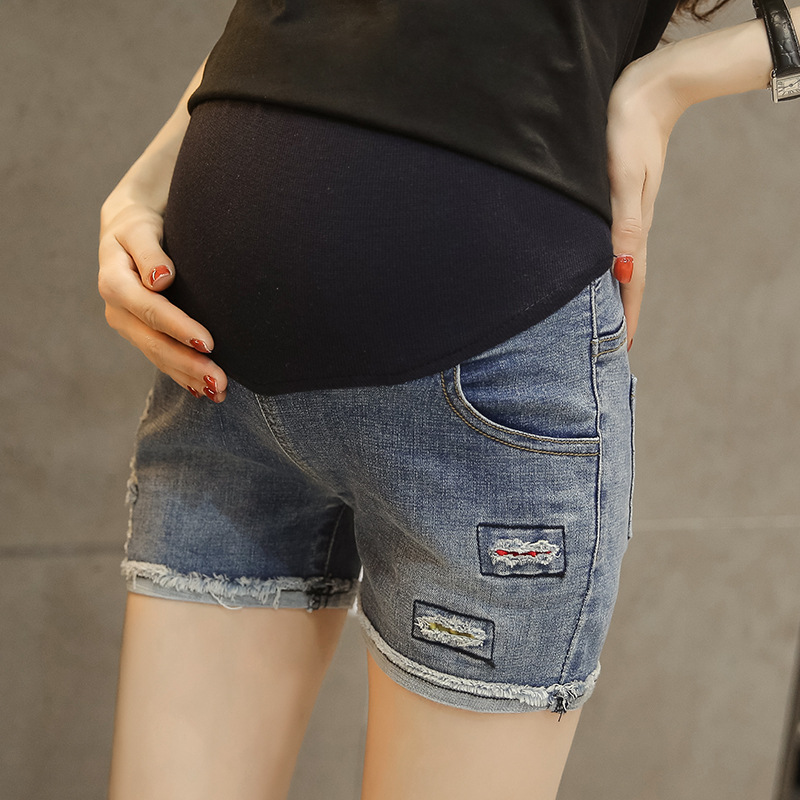 M-XXL Maternity Jeans for Pregnant Women Pregnancy High Waist Fit Shorts Summer Clothes for Women Jeans Pregnancy Clothes image