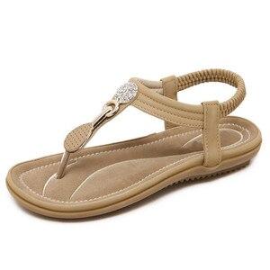 Image 2 - Timetang 夏新ボヘミア女性サンダルラインストーン女性フリップヴィンテージ女性靴ビーチ