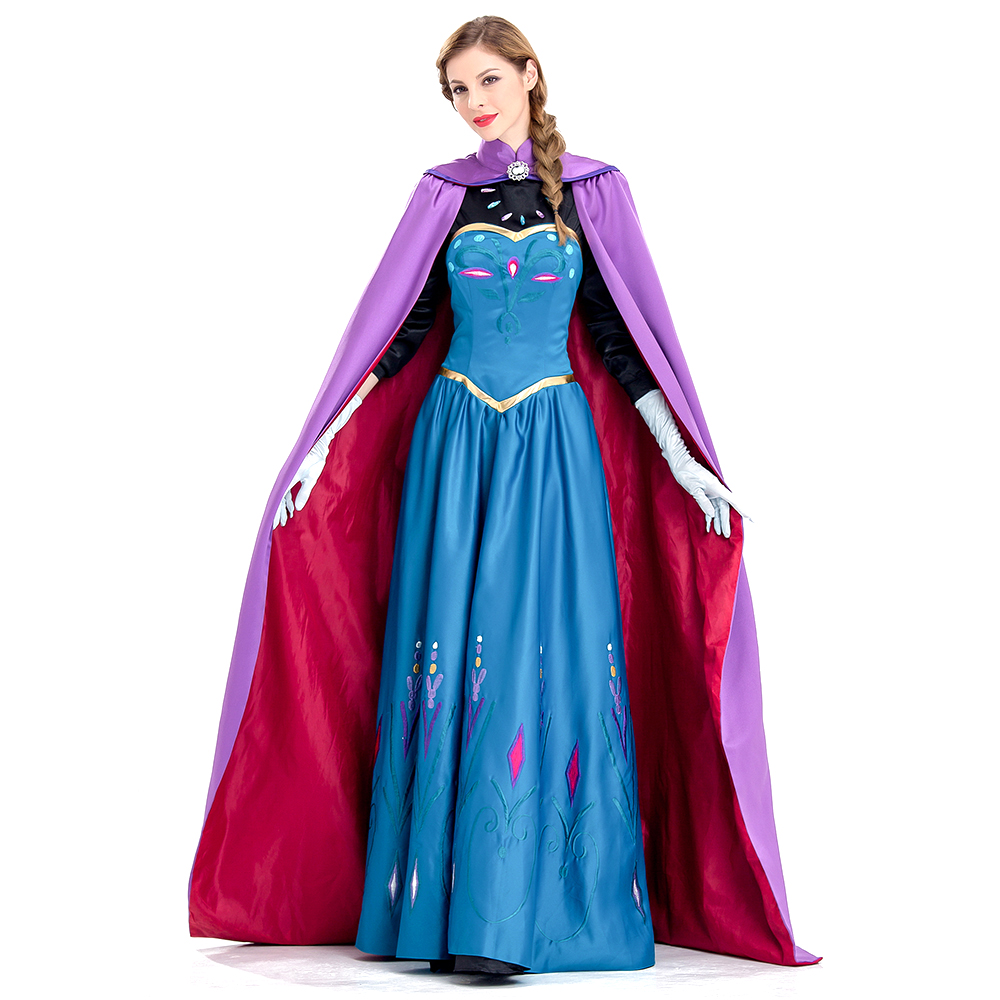 Princess Elsa Cosplay Costume Queen of Arendelle Coronation Dress Snow Queen Elsa Cape Women Halloween Fancy Dress Plus Size halloween queen cosplay dress