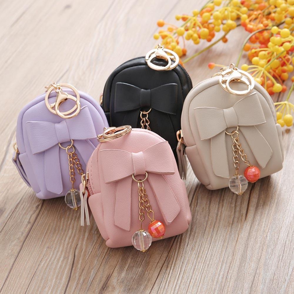 Women Bow Zipper Key Bag Zipper Key Bag Short Women Wallet Small Coin Purse Mini Card