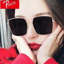 Psacss Square Metal Sunglasses Women Men HD Retro High Quality Mirror Sun Glasses Female Vintage Lunette De Soleil Femme Eyewear