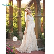 Tonlinker 2018 New Ruffled sleeve vintage sexy summer Lace photo pregnant dress maternity photography props maxi Maternity dress summer new sexy deep v collar lace pregnant dress short sleeve long maternity dress clothes photography props tight tail dress