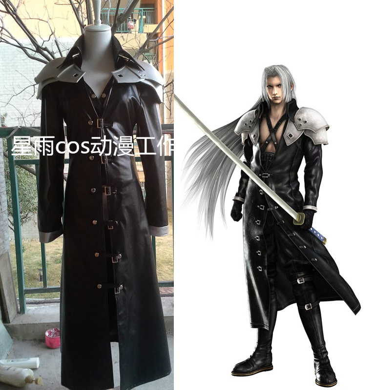 Final Fantasy VII FF7 Sephiroth Cosplay Costume PU Leather Outfit+Pauldrons Halloween Carnival Costumes for Women/Men Customize