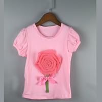pink rose fashion shirt kids girls tops children shirts girl