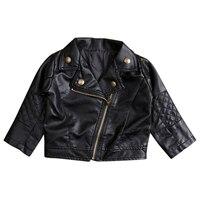 Yeni Çocuklar Kız Giysileri Moda PU Deri Ceket Biker Ceket Sonbahar Giyim Palto Tops Siyah Yeni
