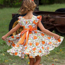 1-6T Infant Toddler Baby Girls Princess Party Pageant Dress Elegant cartoon pumpkin ruffles Vestidos halloween costume for kids(China)