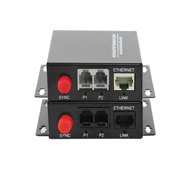 גבוהה באיכות 2 ערוץ PCM קול טלפון סיבים אופטי מדיה ממיר עם Ethernet FC מצב יחיד 20Km