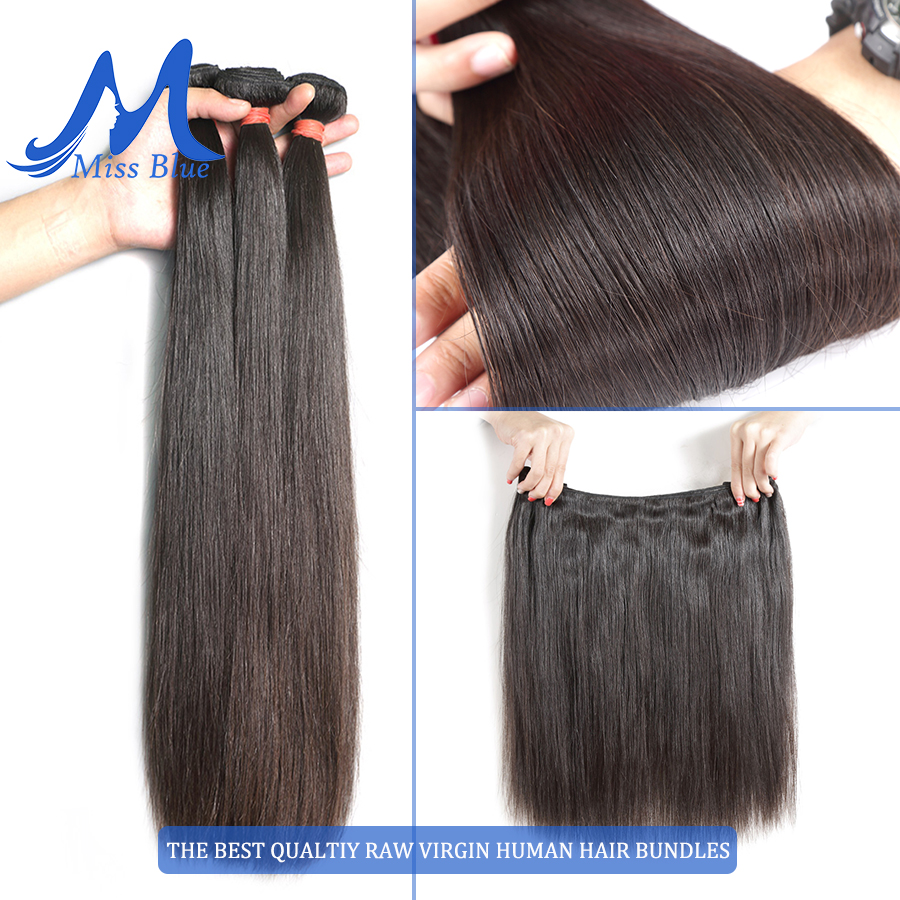 Missblue 10A Mink Quality Brazilian Virgin Hair Bundles Straight Grade 10A Raw Human Hair Weave Bundles Extensions 1 3 4 P/Lots